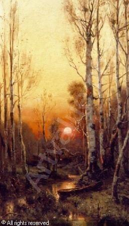 julius sergius von klever   WOODLAND RIVER AT SUNSET sold by William Doyle Galleries  New York  on