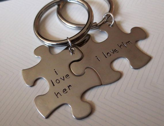 Personalized Puzzle Piece Keychain  2 pieces Hand by ivaart, $21.00