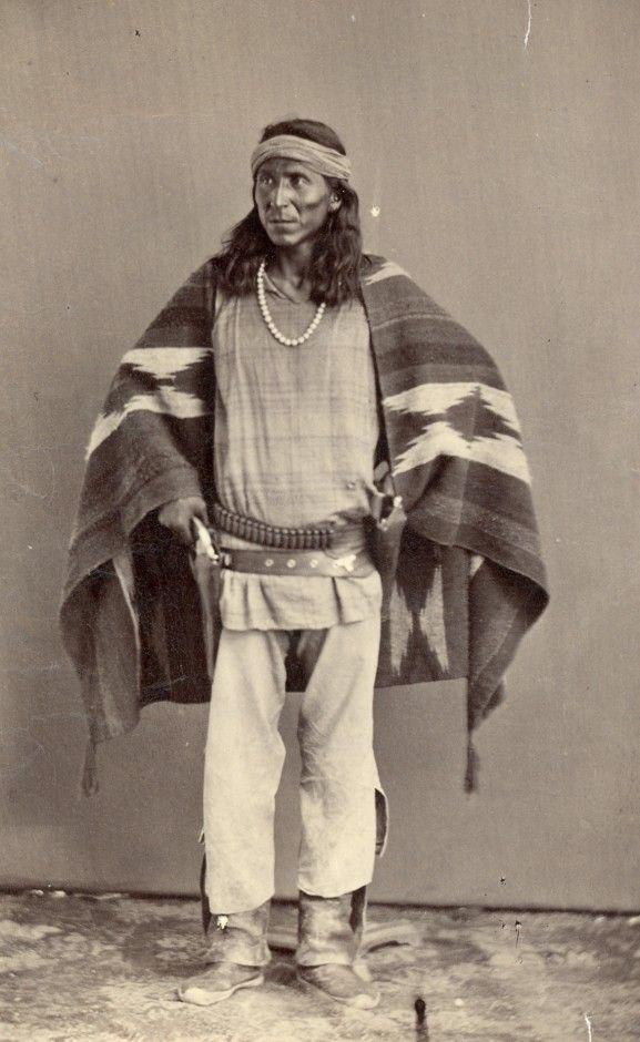 Navajo Man Wearing Serape. Ben Wittick, circa 1883. Washington Matthews Collection, Wheelwright Museum of the American Indian.