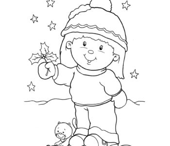 Kolorowanka - Dziewczynka na śniegu