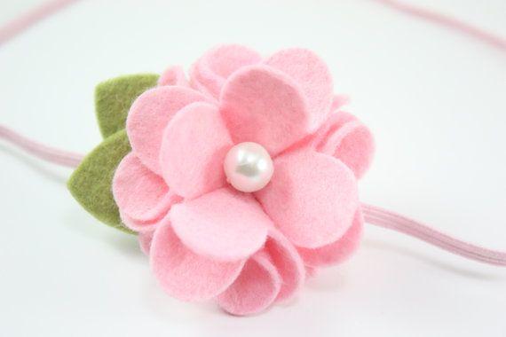 Felt Flower Headbands - Light Pink Felt Flower with Pearl - Baby Headband