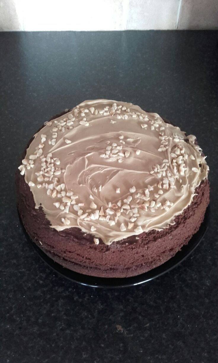Chocolate cake with coffee icing and hazelnyts