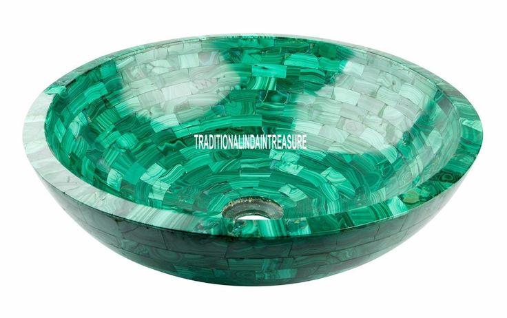 "12"" White Exclusive Marble Round Washbasin Malachite Random Work Art Inlay Decor #AgraHeritageMarbleCrafts #Beautiful #Marble #Decorative #Washbasin #Designer #Arts #Collectible #HomeDecor #Malachite #Stone #GiftDecor"