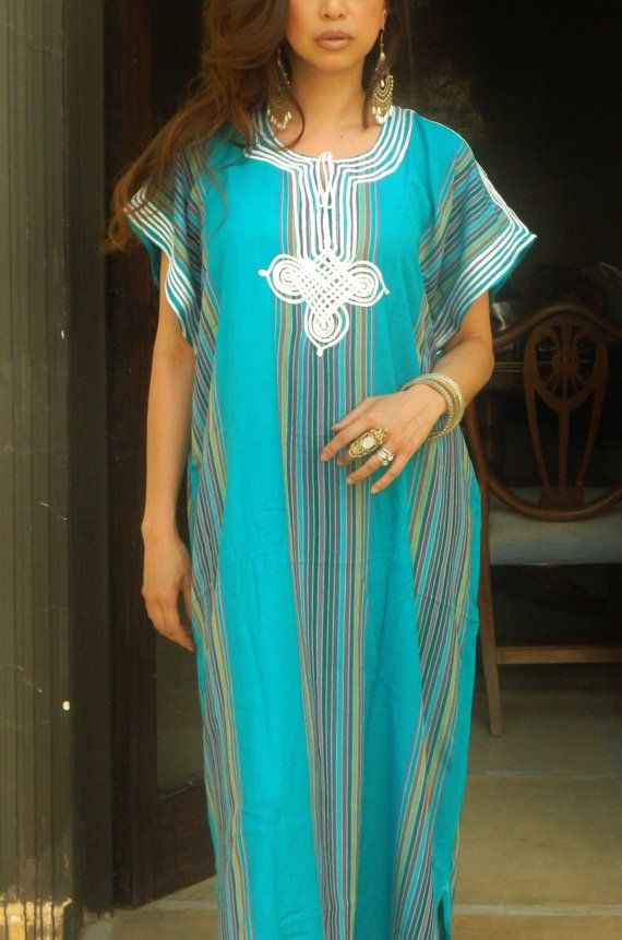Resort Caftan Kaftan Bedoin Style- Turquoise-Perfect as loungewear, as beachwear, gift for moms and to be moms on Etsy, $47.99