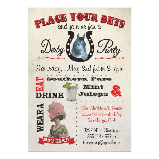 Horse Racing Derby Party Poster Invitations. Great for the Kentucky Derby or any horse racing theme!