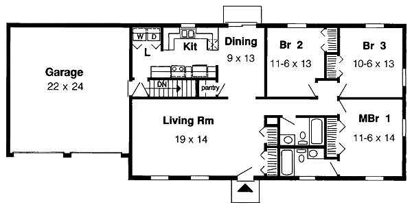 plan 1153g: simple one-story | simple house, crates and basements