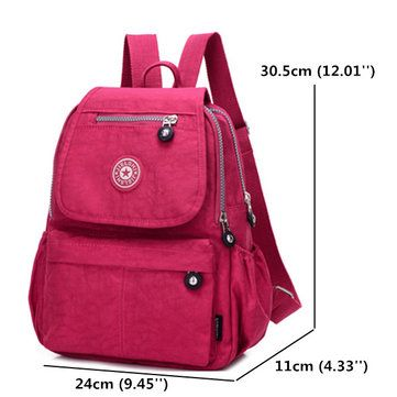 Women Nylon Multi Pockets Backpack Girls Casual Shoulder Bags Outdoor Sports Ruc - US$24.81