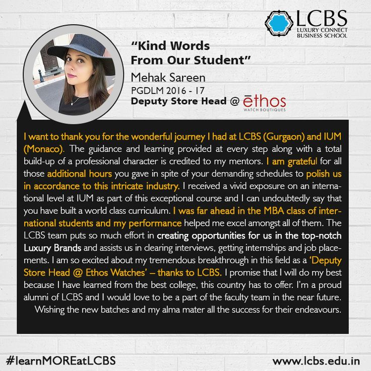 LCBS is India's first and foremost Institute to offer a specialized Post Graduate Diploma in Luxury Brand Management.We are well-connected with various Luxury Brands as they are looking for people who have an in-depth knowledge of managing luxury products. One of our students Mehak Sareen shares her kind words post she was placed at Ethos Watch Boutique as a Deputy Store Head. Visit @ http://bit.ly/23o1j9Q #JoiningHands #GlobalBrandLeaders #Lcbs #LuxuryBusiness #LuxuryManagement…