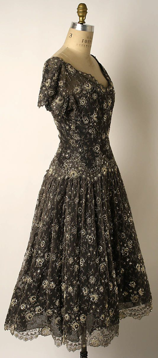 Dress, Evening House of Dior (French, founded 1947) Designer: Christian Dior (French, Granville 1905–1957 Montecatini) Date: ca. 1956 Culture: French Medium: silk, glass beads