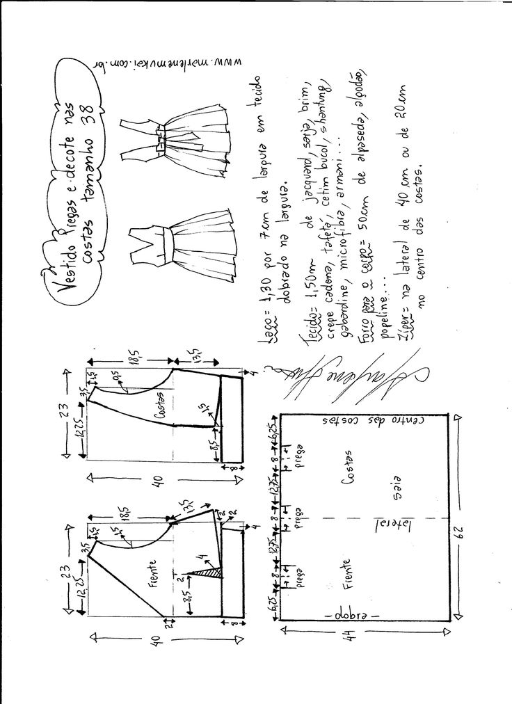 Esquema de modelagem de vestido com pregas e decote nas costas tamanho 38.