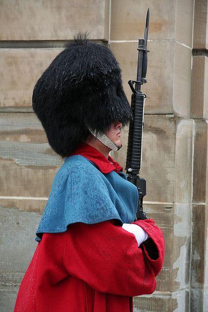 A Danish Royal Guard, Guarding Amalienborg Palace.