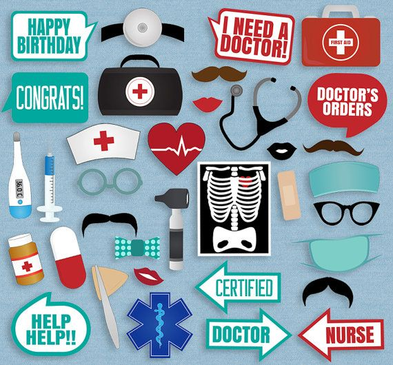 35 Medical Themed Party Photo Booth Props Doctor Props