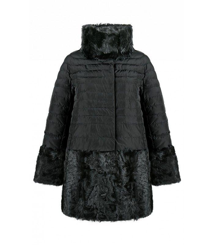 Пуховик, комбинированный мехом козлика Virtuale Fur ...