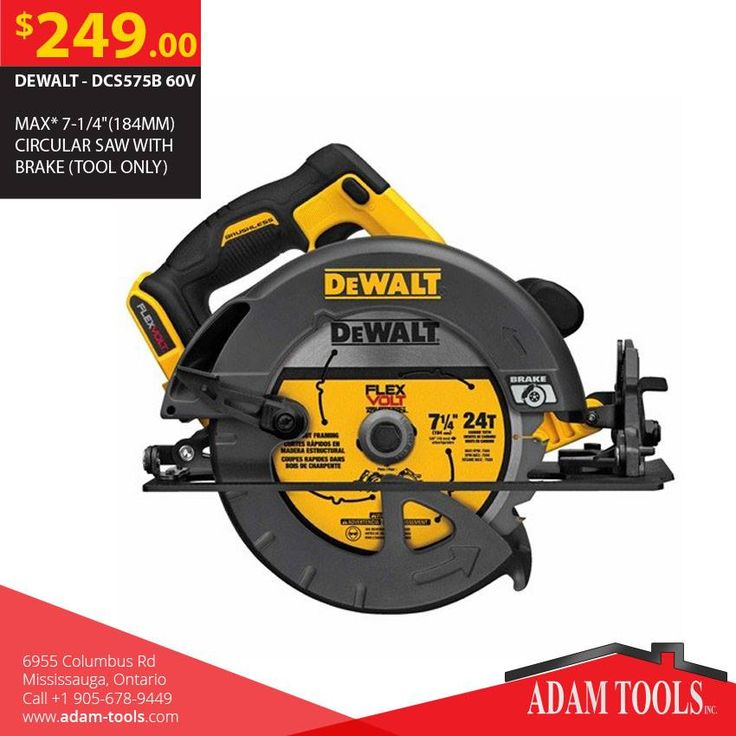 """Now available at Adam tools with great price DEWALT - DCS575B 60V MAX* 7-1/4""""(184MM) CIRCULAR SAW WITH BRAKE (TOOL ONLY) Visit our website for more information and special offers ...  https://www.adam-tools.com/dcs575b-60v-max-7-1-4-184mm-circular-saw-with-brake-tool-only.html #canada #mississuaga #power_tools #building_supplies #Dewalt #Shopping #powertools #contractors #subcontractors #construction #generalcontractor #Circularsaw"""