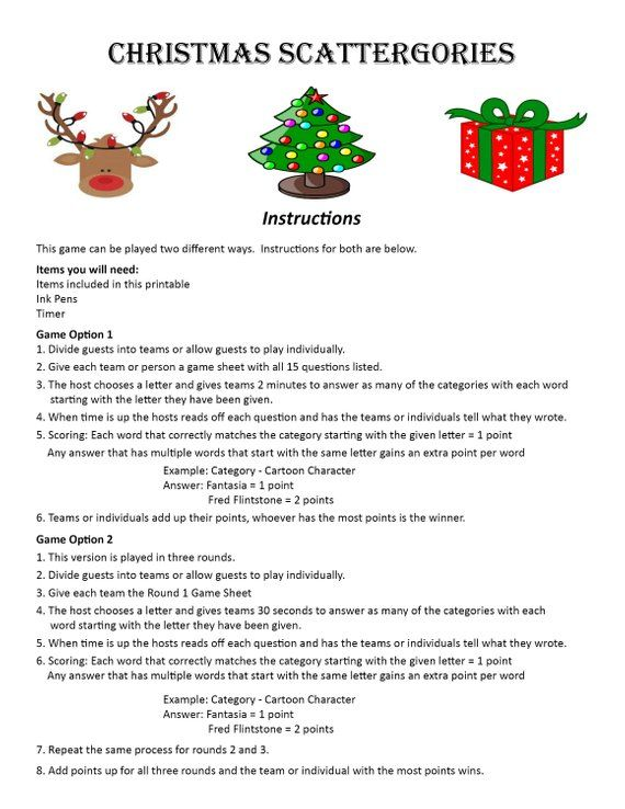 Christmas Scattergories Digital Download Word Game Christmas Etsy Xmas Party Games Holiday Party Games Christmas Games For Family