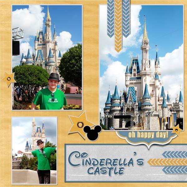 disney world scrapbook   disney world cinderella s castle - Love the gold and blue colors