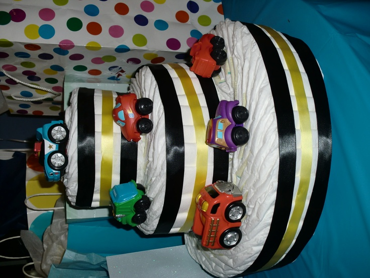 race car diaper cake | Diaper CAKE | Pinterest | Cars ...