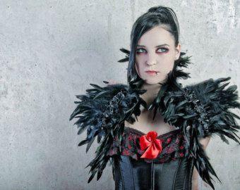 Gothic Feather collar choker victorian black by DeadDollsShop