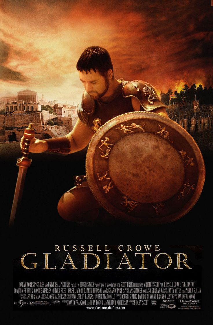 Gladiator (2000) Tapped for the throne after the death of the emperor, Roman general Maximus instead finds himself condemned to death by the late ruler's power-hungry son. Escaping execution, Maximus becomes a powerful gladiator, bent on exacting revenge in the ring. Cast:Russell Crowe, Joaquin Phoenix, Connie Nielsen, Oliver Reed, Richard Harris...1a