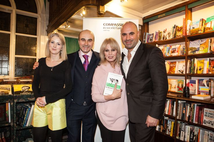 L-R: Isabel Oakeshott, Philip Lymbery, Joanna Lumley and Marc Abraham at the launch of Farmageddon on 4th February 2014.