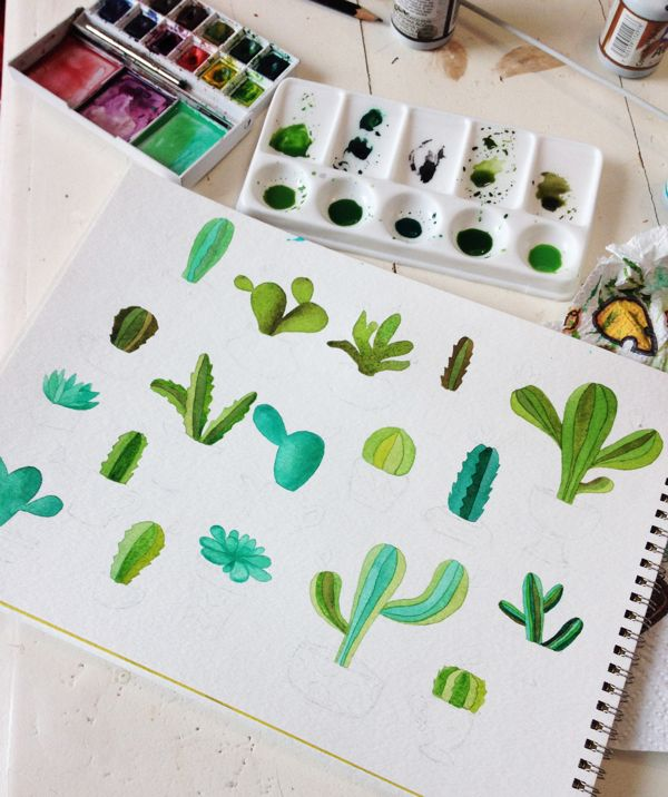 Cactus en acuarela on Behance
