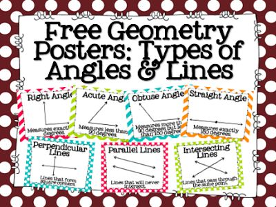 FREE Geometry Posters: Types of Angles & Lines