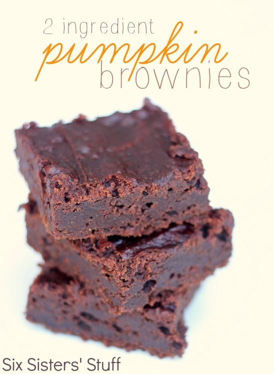 2 Ingredient Pumpkin Brownies   1 (19.5 ounce) box brownie mix   1 (15 ounce) can pumpkin   Directions: Preheat oven to 350 degrees F.  Spray a 9x13 pan with nonstick cooking spray.  In a large bowl, mix together brownie mix and pumpkin until combined.  Pour batter into prepared pan and bake for 25-30 minutes, or until an inserted toothpick comes out clean.