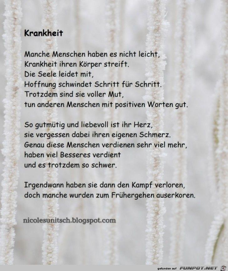Krankheit Trauergedicht Von Nicole Sunitsch Gedichte