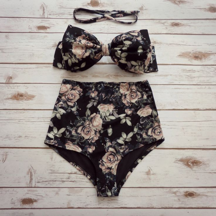 Bikini In High Waisted Bow Pin-up Style  - Vintage Black Antique Rose Floral Print Swimwear - Cute Retro Figure Flattering 2 Piece Swimsuit de Bikiniboo en Etsy https://www.etsy.com/es/listing/254082579/bikini-in-high-waisted-bow-pin-up-style
