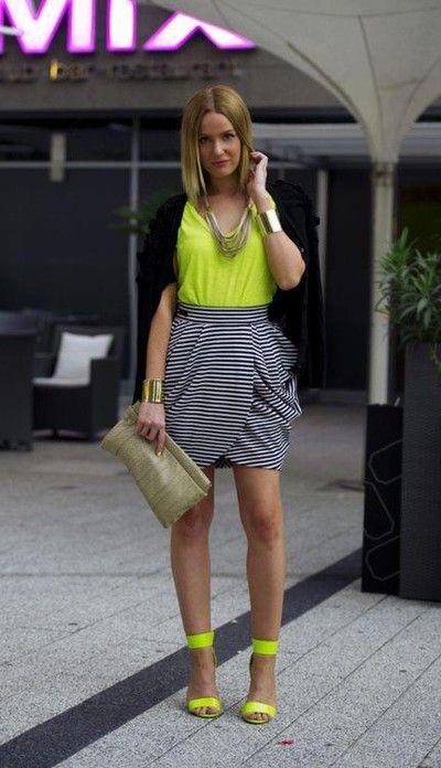 Casual Work Black Cardigan Yellow Blouse Grey Tulip Skirt Yellow Heels