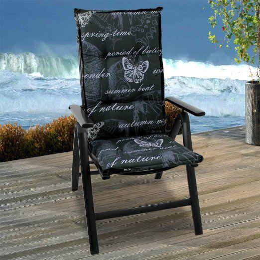 Amazon.de: Hochlehner Gartenstuhl Polsterauflage Gartenstuhlauflage 117x49cm - 6cm dick mit weissen Schmetterlingen Sitzauflage Stuhlauflage Sitzpolsterauflage Sitzkissenpolster