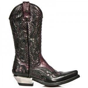 M.7921-C15 New Rock Dark Red Snakeskin Mens Cowboy Boots