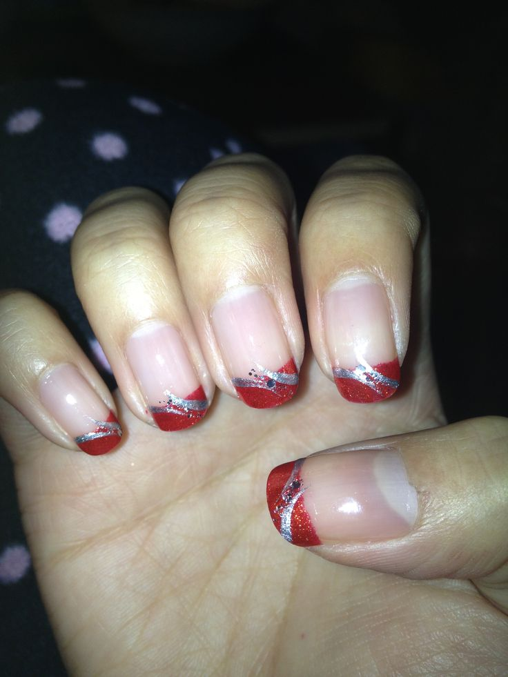 Red and silver nail art #nails #holiday #red #silver #christmas