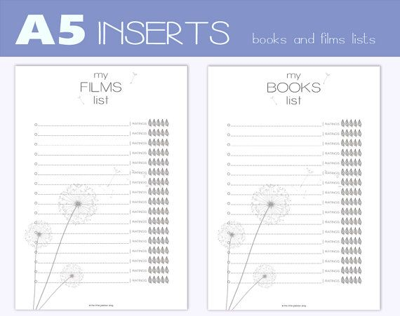 A5 size INSERTS for A5 Filofax large di TheLittlePlannerShop