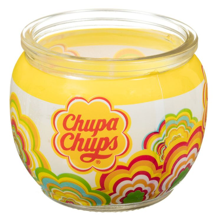 Chupa Chups Scented Candle.  Bring the sweet smells of one of the world's best loved lollipops into your home, with this Chupa Chups scented candle.  Available in 4 irresistible fragrances.  Available fragrances: Fresh Lemon Sorbet, Mango Sorbet, Raspberry Sensations, Strawberry and Cream #Lemon #Mango #Raspberry #Strawberry #Cream #candle #homesweethome #home #homedecor #interior #interiordesign #design #homeinspo #pinit #pinterest #ideas #inspiration #bmstores