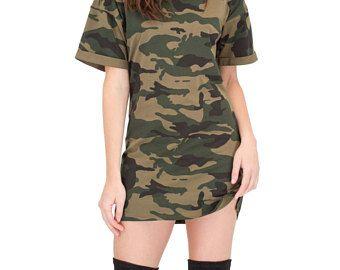 Camouflage Womens Oversized T Shirt Dress Camo Print Mens Fit Fashion Choker Dress Kylie T Shirt Tee Camou