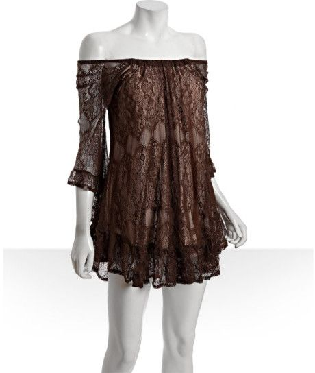 brown lace dress | ... Revolution Antique Brown Lace Lacie Bell Peasant Dress in Brown - Lyst