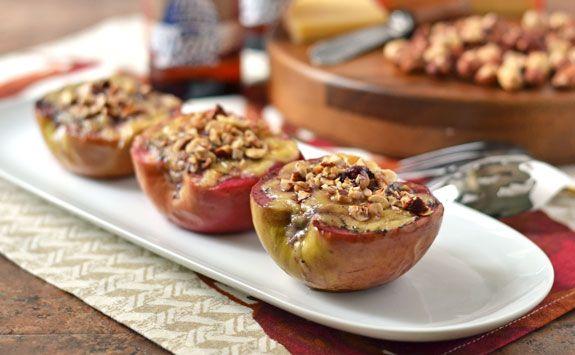 Cheese Stuffed Baked Apples with Hazelnuts. Perfect party appetizer or light lunch.