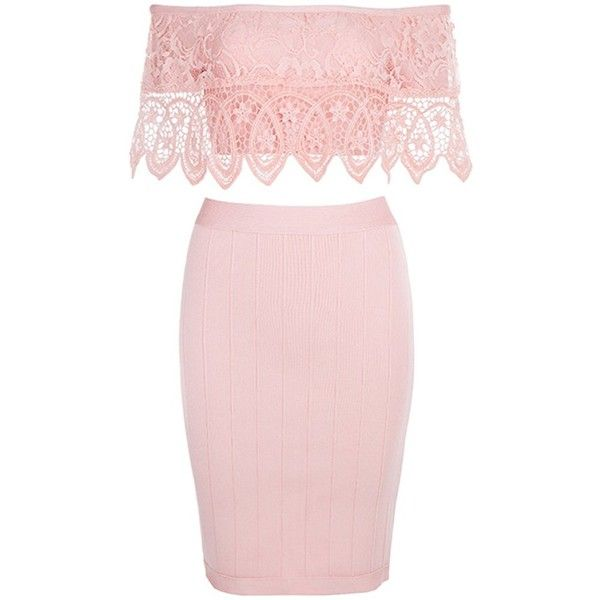 Perfect Love Lace Short Sleeve Off The Shoulder Crop Top Bandage... ($130) ❤ liked on Polyvore featuring dresses, pink lace dresses, pink party dress, sexy party dresses, pink bodycon dress and body con dress