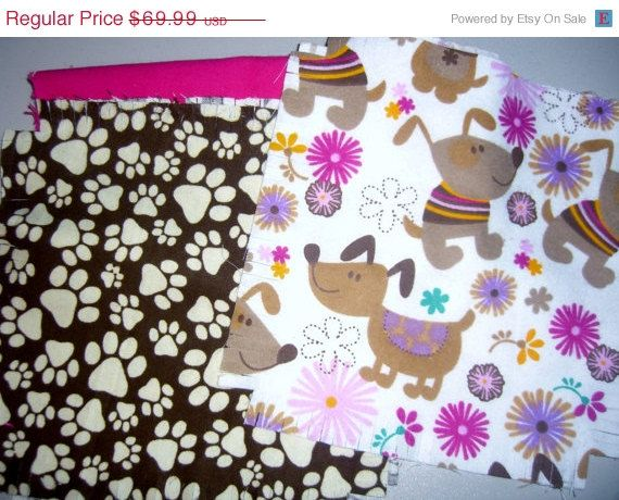 "Dog Flannel rag quilt kit Puppy paw prints pawprints fringed die cut fabric squares and batting complete and ready to sew 45.5""x58.5   #floral, #flowers, #dogs, #puppies, #pawprints, #ragquilt, #quiltkit, #flannel, #diecut, #fringed, #fabric, #squares, #batting, #etsy, #sale  - pinned by pin4etsy.com"