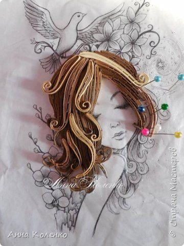 Картина панно рисунок Квиллинг Фея цветов Бумажные полосы фото 4