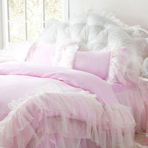 ruffle bedding | Glamorous Pink Ruffled Duvet Cover 4pcs Set Queen
