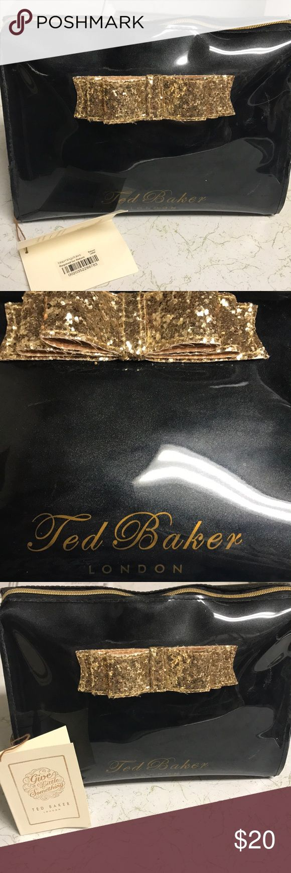 Ted Baker Glitter Bow Bag Small shiny cute with sparkle bow... can be a cosmetic bag or clutch. Never worn with tags Baker by Ted Baker Bags Mini Bags