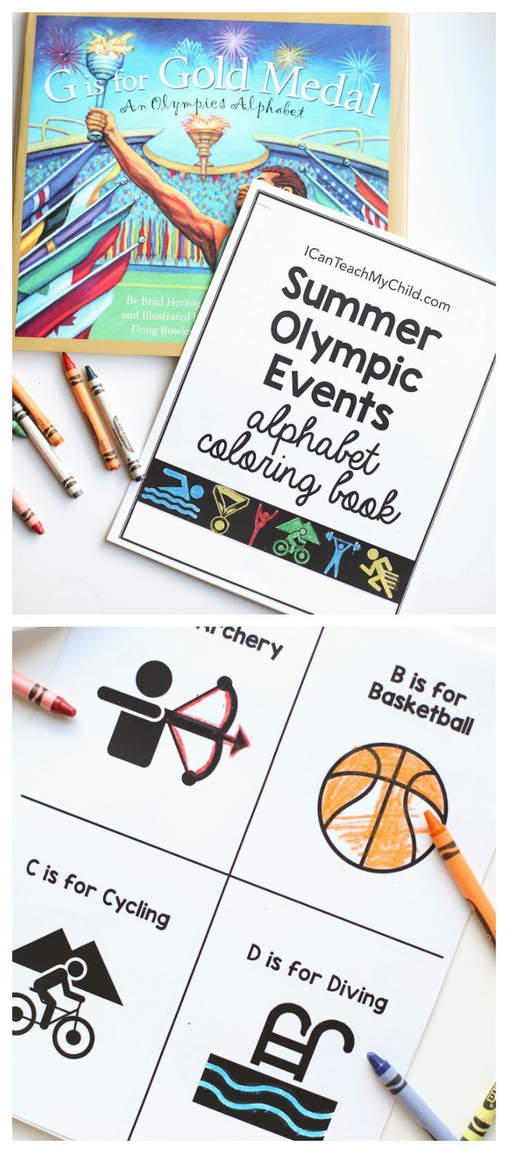 Summer Olympic Events Alphabet Book:  Free printable perfect for kids watching the Olympics!
