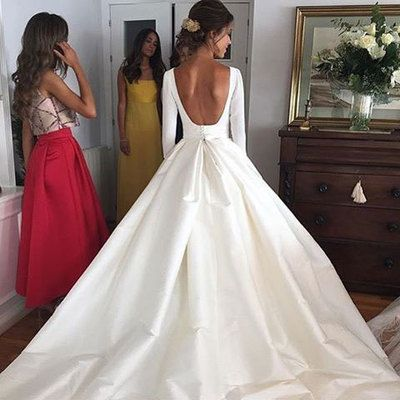Elegant White Backless Wedding Dress Bridal Gowns with Long Sleeves from dressydances