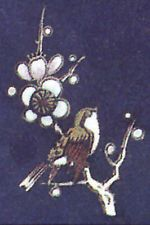 """5 Sparrow Bird Plum Tree Flower Branch 2 1/4"""" Ceramic Decals"""