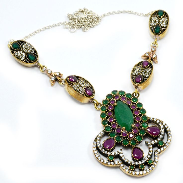 Silvesto India Ruby,Emerald And Topaz (Lab) 925 Sterling Silver With Bronze Pendant Necklace PG-7137  https://www.amazon.co.uk/dp/B01H5CWEC2