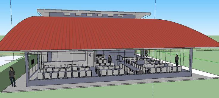 Vista virtual geral do refeitório de uma cozinha industrial a ser implantada no Rio de Janeiro