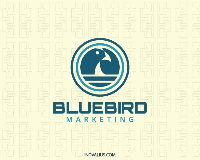 Animal logo composed of circles together with a stylized bird with blue colors.( business, bird, animal, marketing, vision, supervision, abstract, water, circle, flying, academy, bird seed, eastern bluebird, blue bird,  logo for sale, logo design, logo, lototipo, logotype).