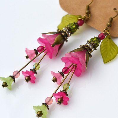 Unique Lucite Flower Pink Green Olive Garden Rose Fuchsia Glass Dangle Earrings